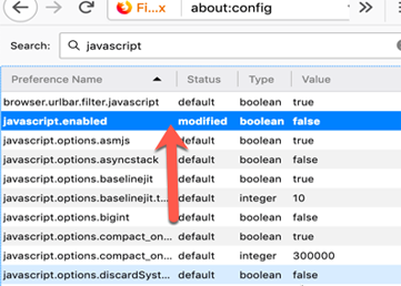 Step #4 - Double click 'javascript.enabled' row