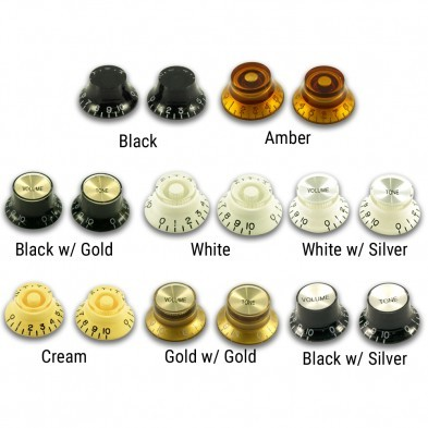 GUILD Guitar Knobs 2-tone 2-vol Black silver insert.