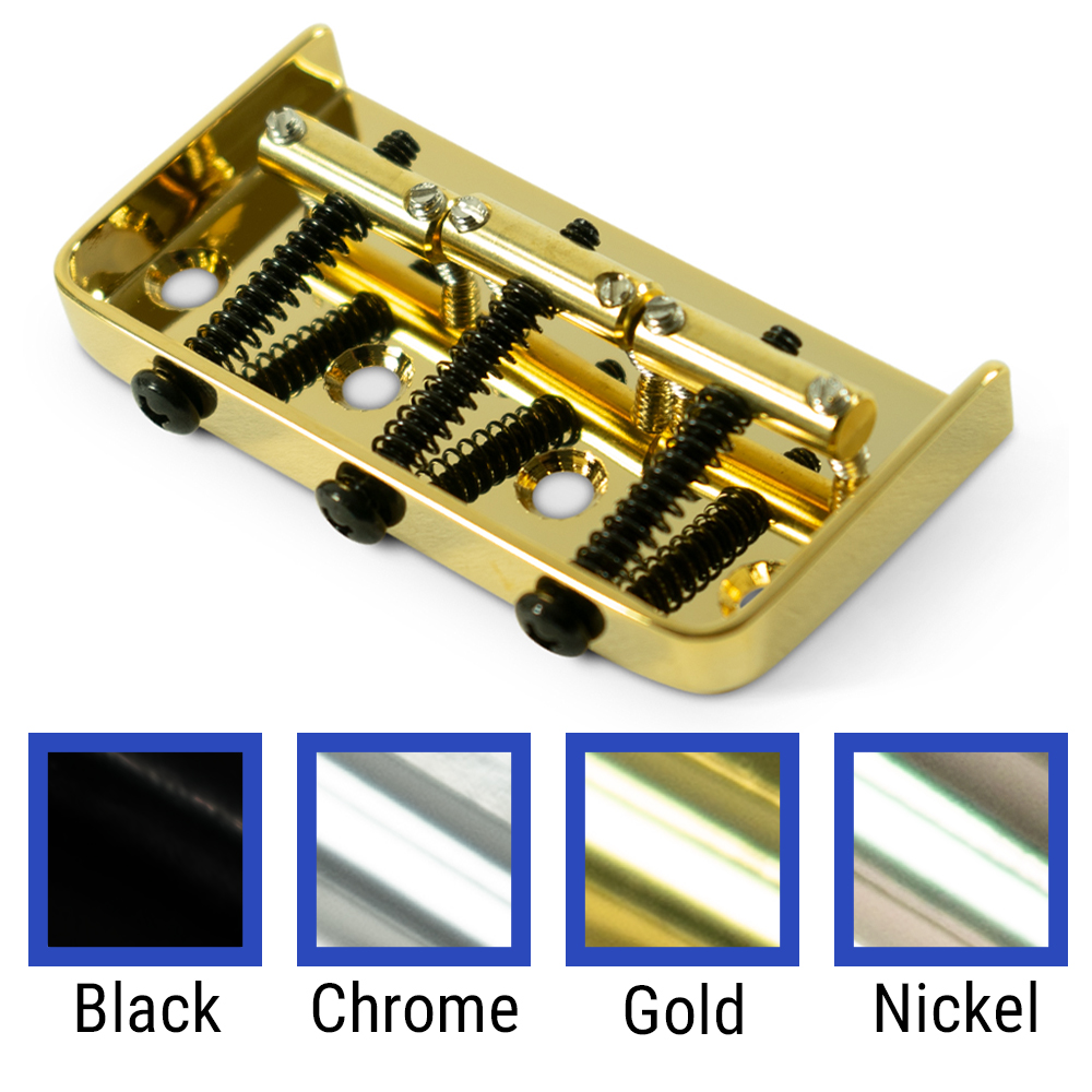 Kluson 1/2 Size Replacement Bridge For Fender Telecaster Steel With Brass Saddles