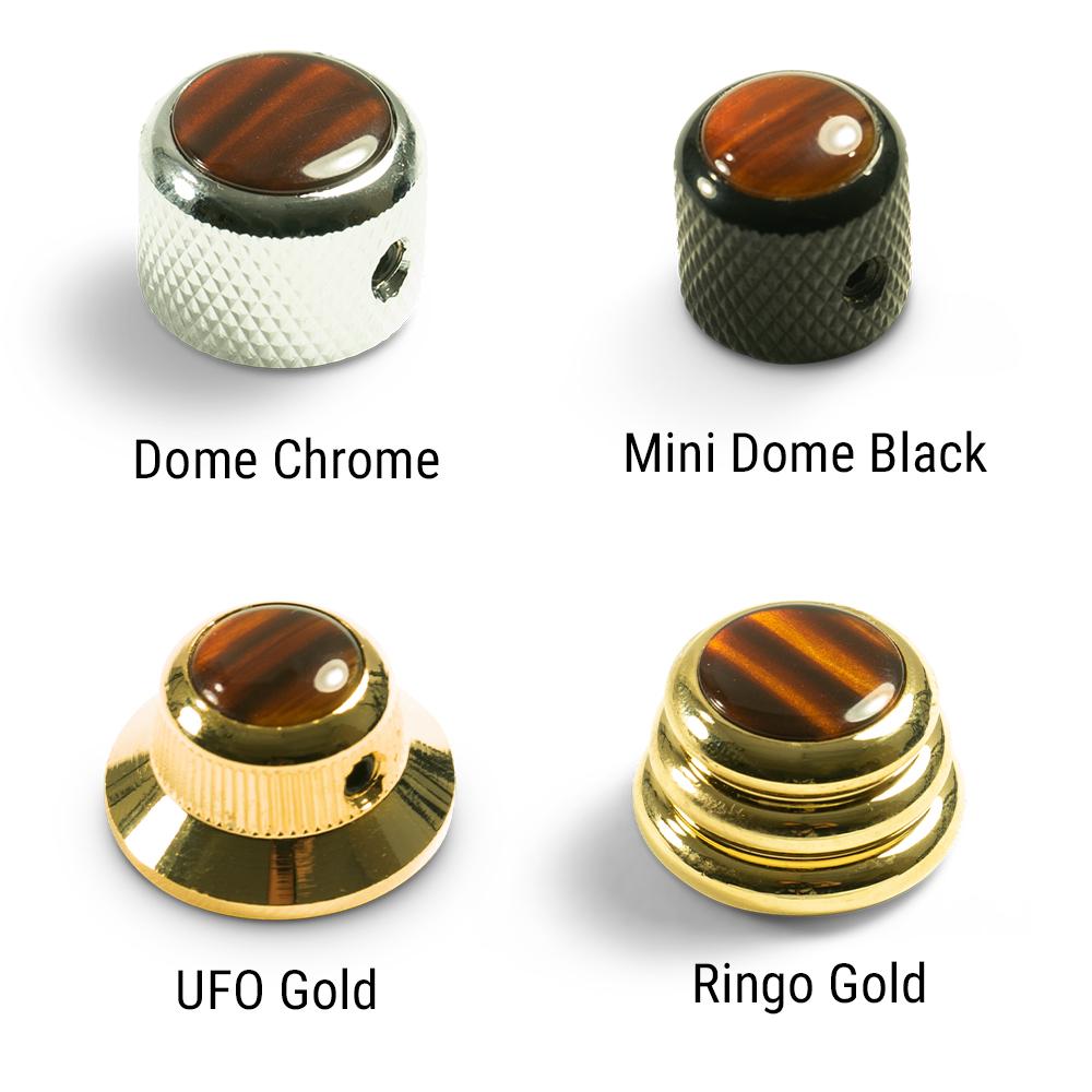 EBONY WOOD INLAY ON GOLD NEW Q-Parts Mini Dome Knob