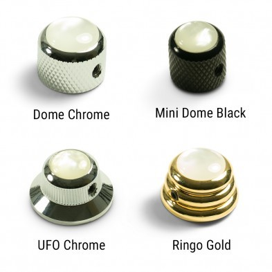 Guitar control knob pearl inlay chrome black or gold finish for tone or volume