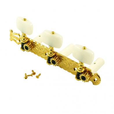 Gotoh® 3-On-A-Plate 39 mm Classical Tuning Machines Gold