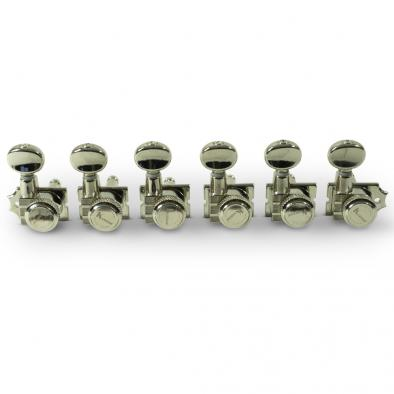 Kluson® 6 In Line Locking Revolution Series H-Mount Non-Collared Tuning Machines With Staggered Posts