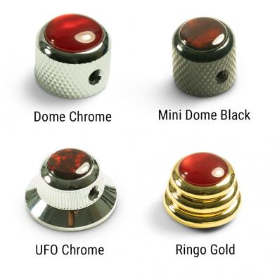 Q-Parts Knobs With Red Acrylic Pearl Inlay