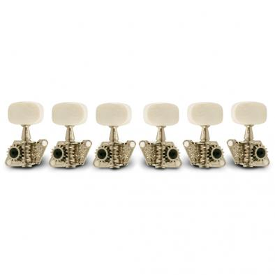 WD 3 Per Side Open Back Steel String Tuning Machines Chrome With Plastic Buttons