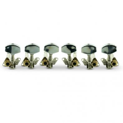 WD 3 Per Side Open Back Steel String Tuning Machines Chrome With Plated Buttons