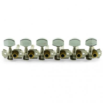 WD® 6-On-A-Plate Open Back Steel String Tuning Machines Chrome With Plated Buttons