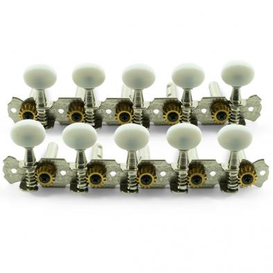 WD® 10 String 5-On-A-Plate Open Back Steel String Tuning Machines Chrome With Plastic Buttons