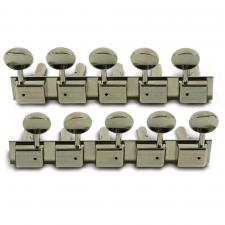 Kluson 5 On A Plate Deluxe Series Tuning Machines For Lap Steel Guitar, Nickel